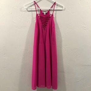 Pink Lace Up Dress